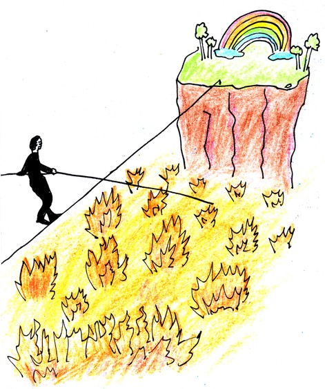 Humanity walking the tightrope